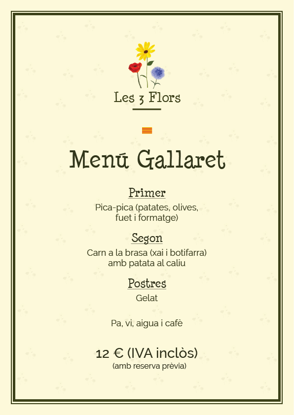 menu 2016 gallaret cat picnic les 3 flors