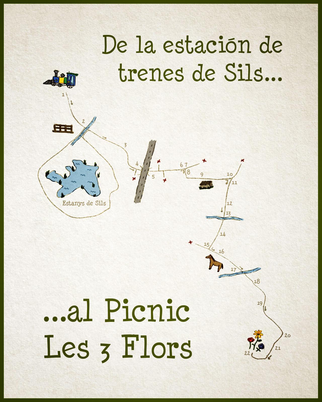 mapa estacion trenes sils picnic les 3 flors