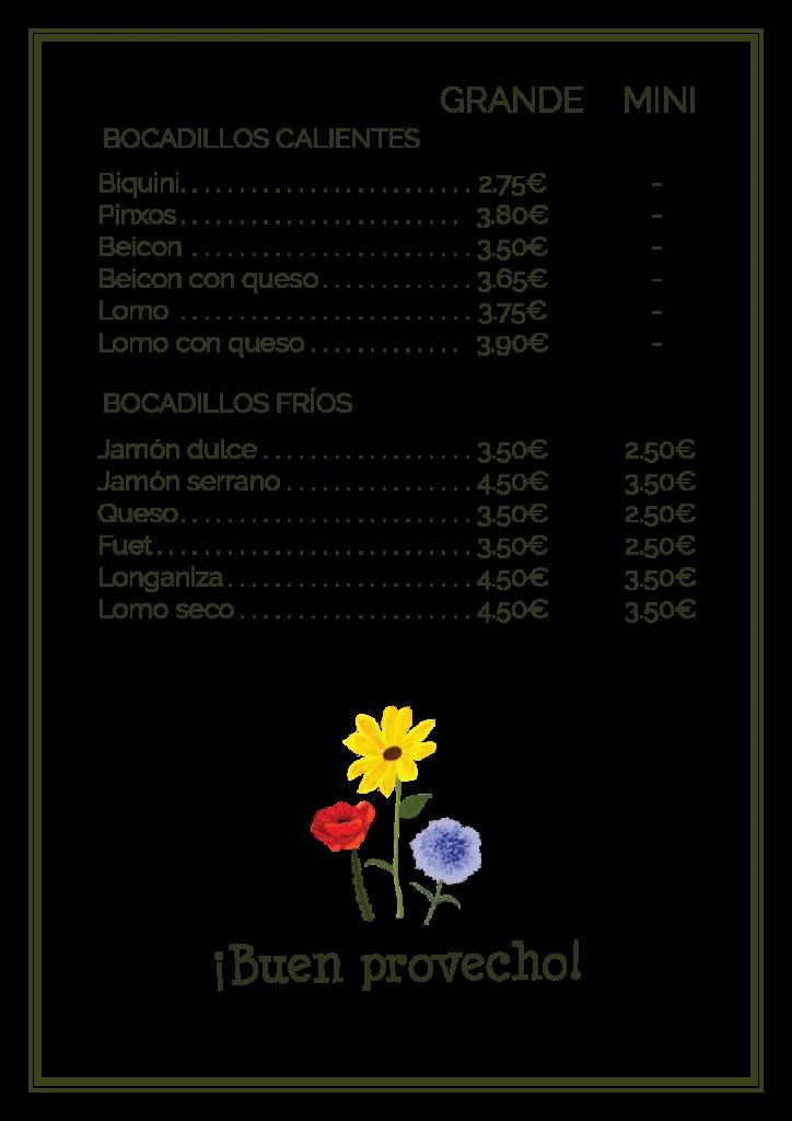 carta bocadillos picnic les 3 flors