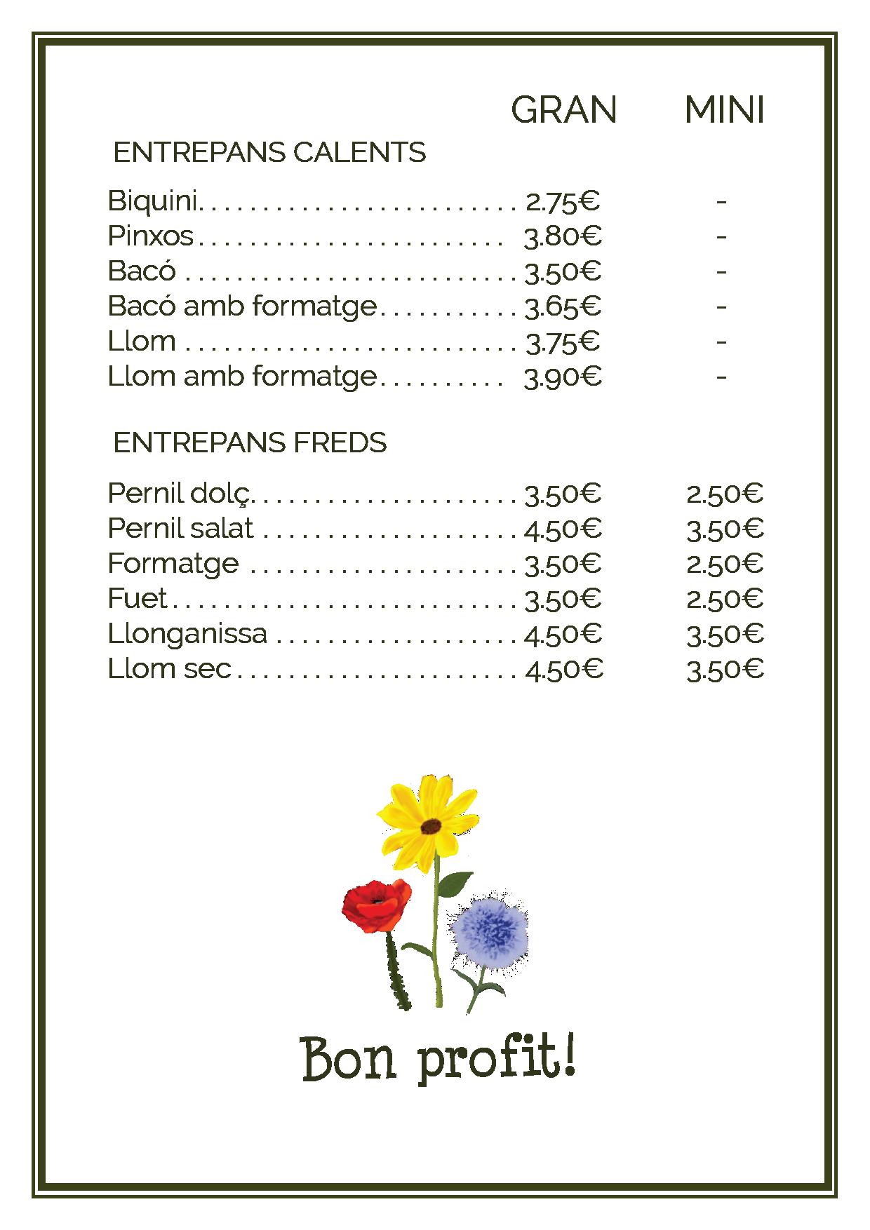 carta entrepans picnic les 3 flors