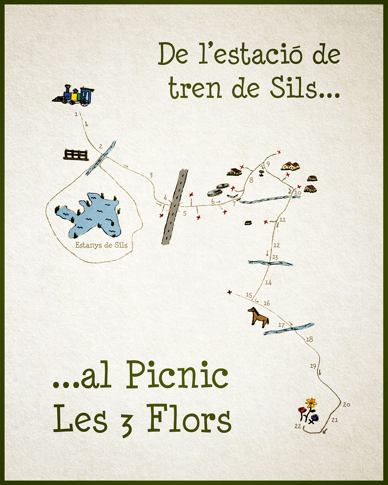 mapa estacio tren sils picnic les 3 flors