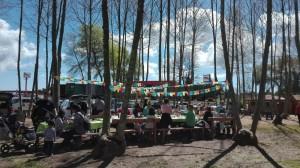 festa daniversari amb taula decorada picnic les 3 flors